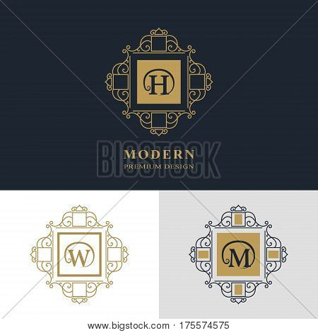 Monogram design elements graceful template. Calligraphic elegant line art logo design. Letter emblem sign H W M for Royalty business card Boutique Hotel Heraldic Jewelry. Vector illustration