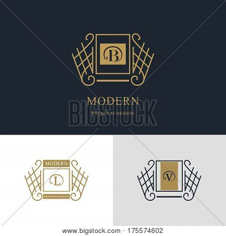 Monogram design elements graceful template. Calligraphic elegant line art logo design. Letter emblem sign B L V for Royalty business card Boutique Hotel Heraldic Jewelry. Vector illustration