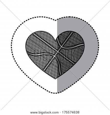 grayscale sticker of heart with texture of basketball ball vector illustration