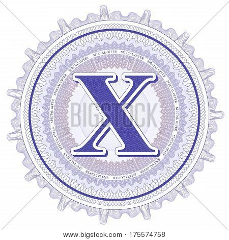 Vector Guilloche Pattern Rosette and border with letter X. Monetary banknote background print. Abstract guilloche letter design.
