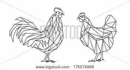 Cock and hen, geometric polygonal animals illustration, black lines on white background, vector file