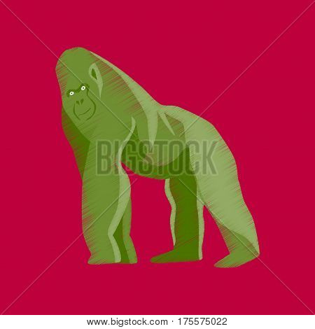flat shading style icon gorilla monkey primate