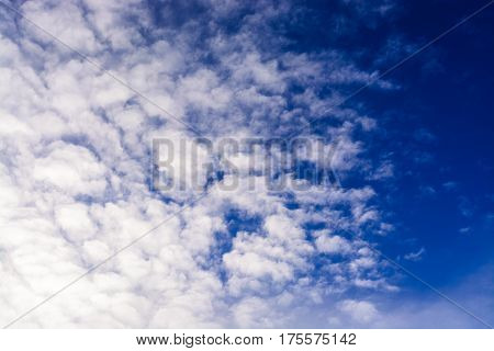 Blue Sky With Clouds. Tinted