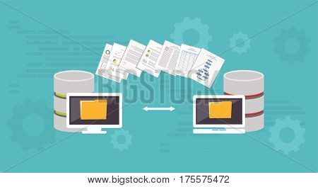 Data Migration.Data management. Transfer file concept. Database connection