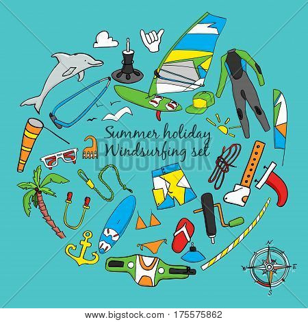 Vector set of windsurfing icons. Board with a sail, wetsuit, surfboard, wind, sail. All for lovers of active holidays at sea and active lifestyle. Family summer holiday.