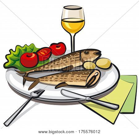 illustration of fried cooked fish with vegetables and wine