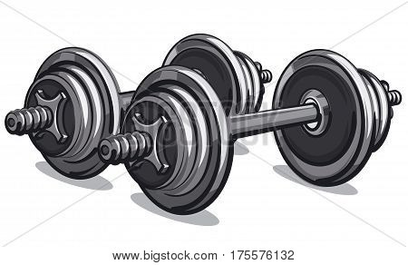 illustration of iron pair of metal dumbbells