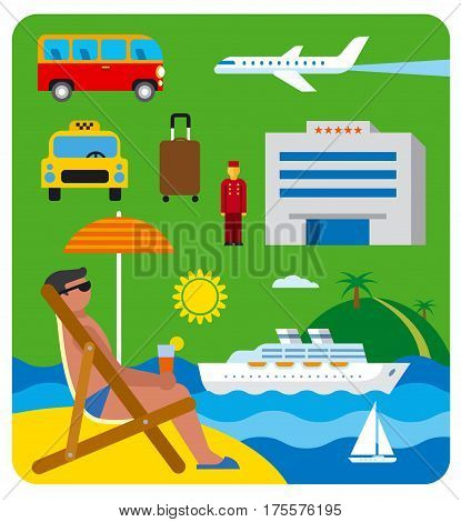 illustration of icons of tropical and sea resort and journey