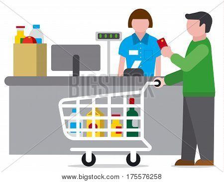 flat illustration of shopping man in food supermarket