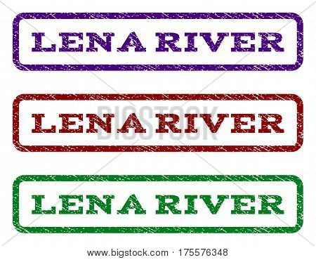 Lena River watermark stamp. Text caption inside rounded rectangle with grunge design style. Vector variants are indigo blue, red, green ink colors. Rubber seal stamp with scratched texture.