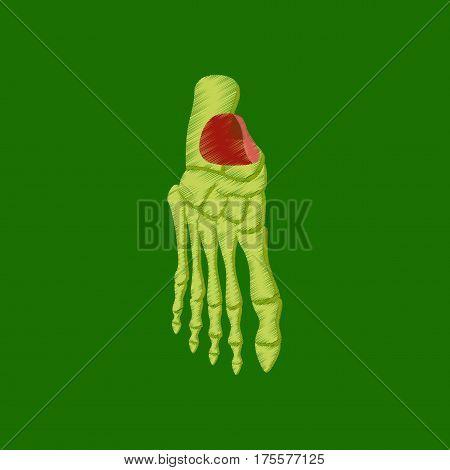 flat shading style icon on green background foot skeleton