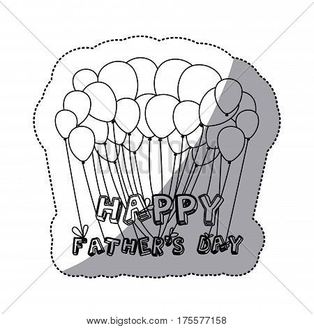 monochrome contour sticker of father's day celebration balloons of close up vector illustration