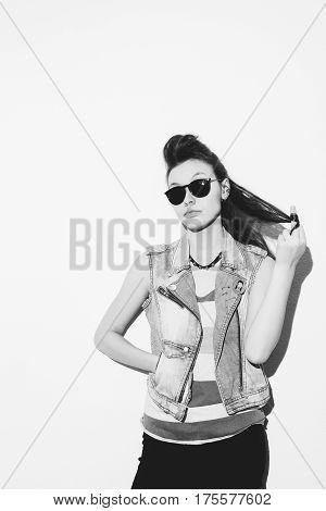 Portrait Of Cool Crazy Punk Girl
