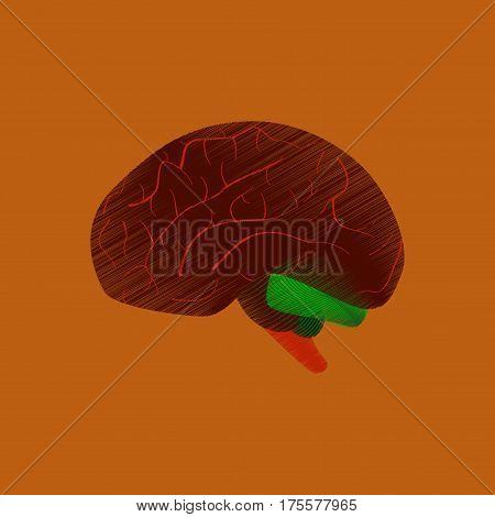 flat shading style icon on orange background brain