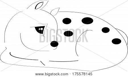 Sleeping fawn on white background.Vector illustration. Epas10