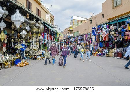 Marrakech Morocco - Marzo 04 2017: Jemaa el Fna (also Jemaa el-Fnaa Djema el-Fna or Djemaa el-Fnaa) is a square and market place in Marrakesh's medina quarter.