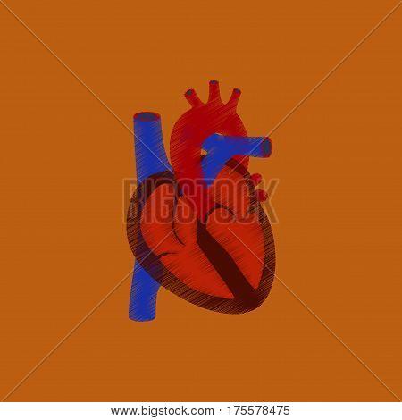 flat shading style icon on orange background heart