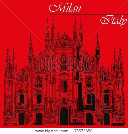Famous Milan Cathedral in black color on piazza in Milan Italy. Graphic hand drawing illustration. Vector isolated on a red background.