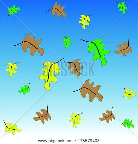 Green,yellow and brown leafs on blue - white background  with colored leafs.Vector illustration.
