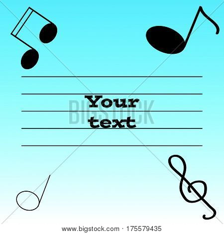 Notes, warp and treble clef on blue- white background.Vector Illustration.