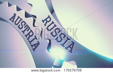 Russia Austria Metal Cog Gears - Business Concept. with Glow Effect and Lens Flare. 3D Render.