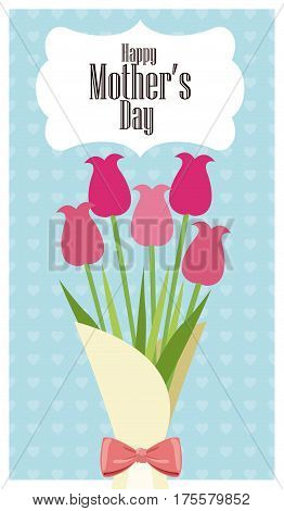 happy mothers day card bouquet flowers - dots background vector illustration eps 10