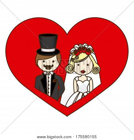 colorful silhouette heart with half body cartoon married couple vector illustration