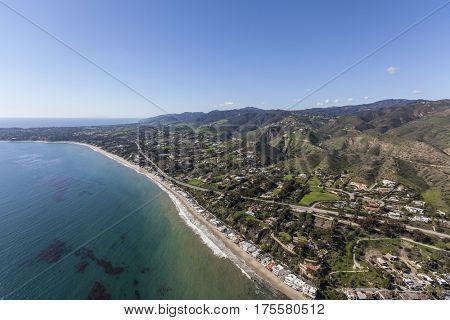 Aerial view of pacific coast beach homes in Malibu, California.