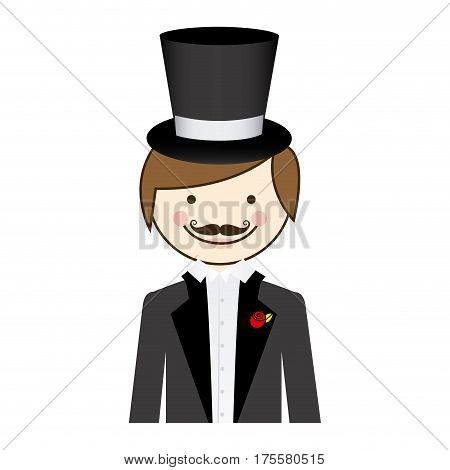colorful silhouette cartoon half body groom with suit and hat vector illustration