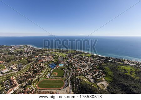 Aerial of the pacific ocean and Malibu on the southern California coast.