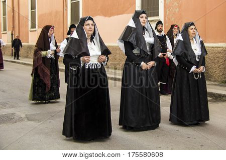 CAGLIARI, ITALY - May 1, 2013: 357 Religious Procession of Sant'Efisio - parade in traditional Sardinian costume - Sardinia