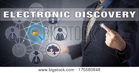 Forensic specialist in blue business suit starting an ELECTRONIC DISCOVERY process. Digital forensics and litigation metaphor information technology concept for the civil procedure of e-discovery.