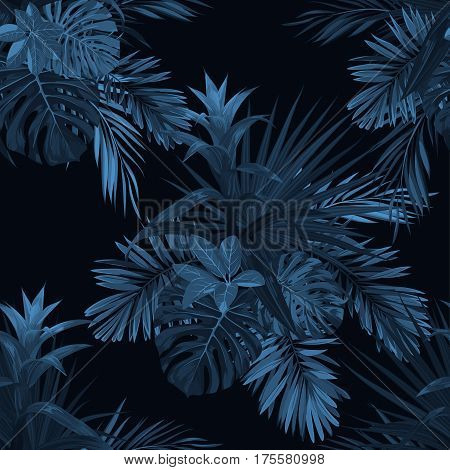 Exotic tropical background with hawaiian plants and flowers. Seamless indigo tropical pattern with guzmania flowers, monstera and royal palm leaves. Vector illustration.
