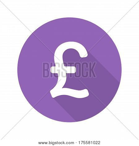Pound sign. Flat design long shadow icon. Great Britain national currency sign. Vector silhouette symbol