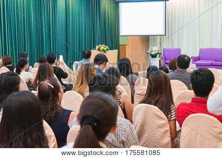 Business Concept : Asia People Listen In Business Seminar Presentation