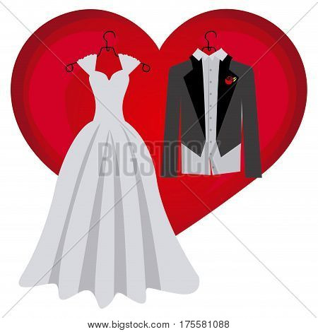 colorful heart with costume wedding desing vector illustration