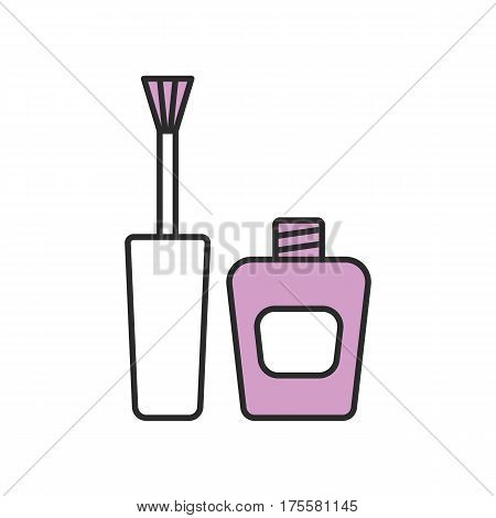 Nail polish color icon. Purple nail varnish bottle with brush. Isolated vector illustration