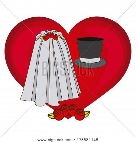 colorful heart costume veil bride with hat groom vector illustration