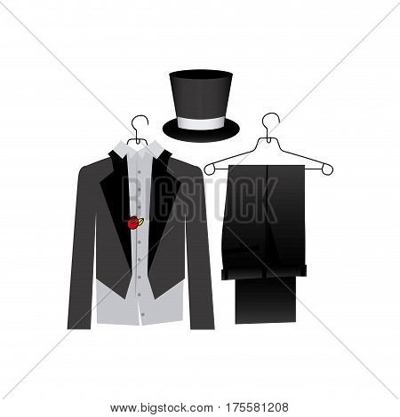 colorful costume formal suit with hat groom vector illustration
