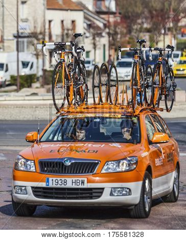 Saint-Pierre-lès-NemoursFrance- March 4 2013: The technical car of Euskaltel-Euskadi Team on the roadduring the first stage of the famous road bicycle race Paris-Nice on March 4 2013 in Saint-Pierre-lès-Nemours.