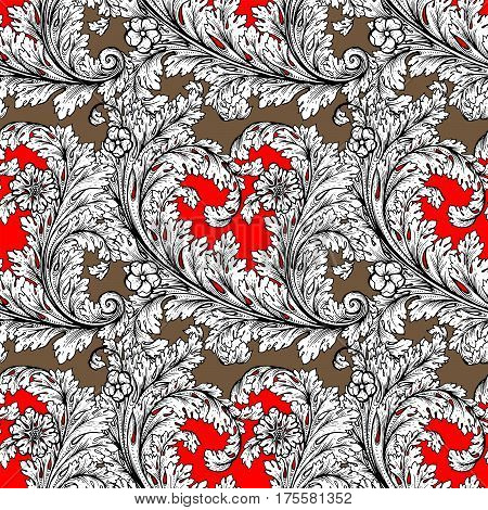 Vector Baroque Seamless Pattern Element. Classical Luxury Old Fashioned Damask Ornament, Royal Victo