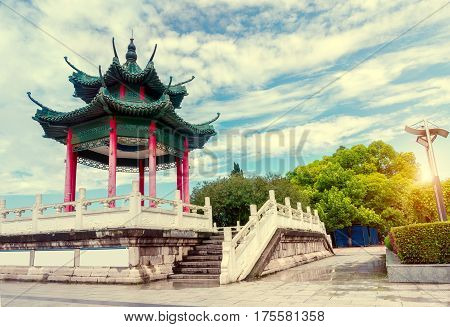 Blue sky background of the ancient Chinese architecture Hubei Yichang