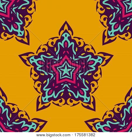 Luxury Damask seamless medallion star floral vector pattern