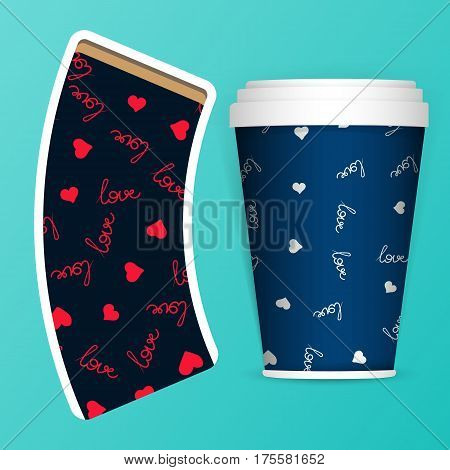 Photorealistic 3D Vector EPS10 Paper Coffee Cup Mockup Set. Vector Template. Take away utensil, tableware. Hot drinks mugs. White paper cup and with pattern about coffee love.