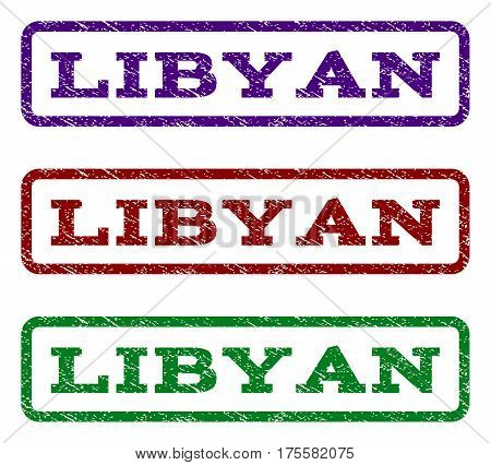 Libyan watermark stamp. Text caption inside rounded rectangle with grunge design style. Vector variants are indigo blue, red, green ink colors. Rubber seal stamp with dust texture.