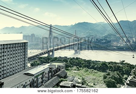 View from cableway over Yangtze river in Chongqing city (Chongqing China)