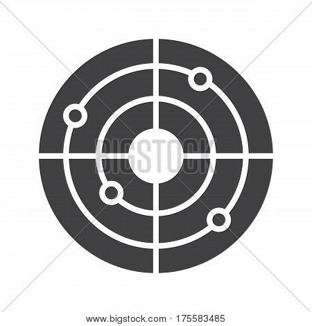 Shooting range icon. Gun target with bullet holes. Drop shadow radar silhouette symbol. Negative space. Vector isolated illustration