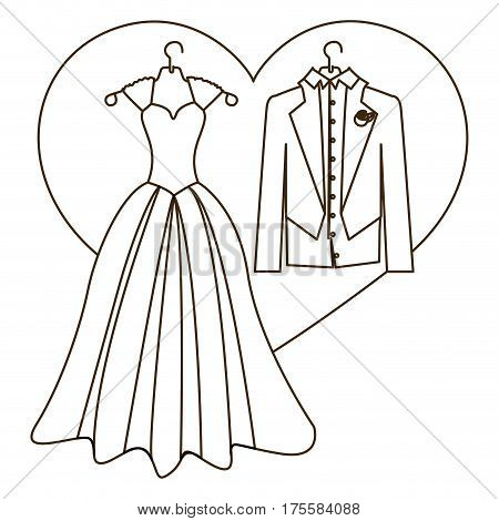 silhouette heart with costume wedding desing vector illustration