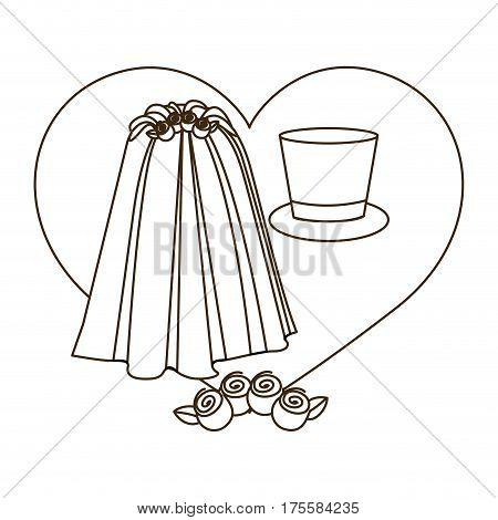 silhouette heart costume veil bride with hat groom vector illustration