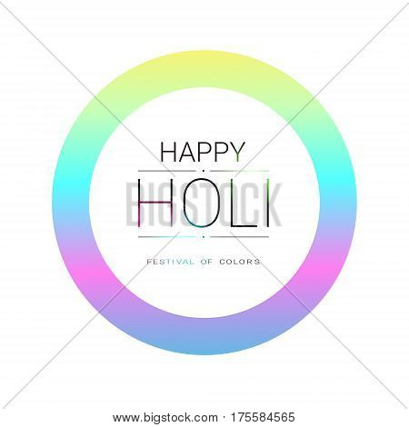 Happy Holi Religious India Holiday Traditional Celebration Greeting Card Flat Vector Illustration